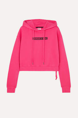 Ksubi Day Dreams Cropped Printed Cotton-jersey Hoodie - Pink