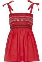 River Island Womens Red shirred tie shoulder cami top