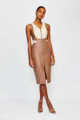 Karen Millen Leather Colour Block Dress