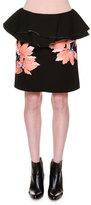 Marni Floral-Appliqué Ruffle-Waist Skirt, Black
