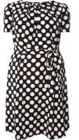 Dorothy Perkins Womens DP Curve Plus Size Black Spot Chiffon Tea Dress- Black