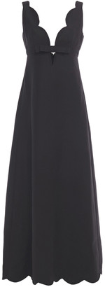 Valentino Bow-embellished Cutout Wool And Silk-blend Crepe Gown