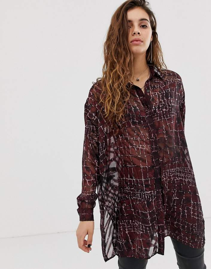 Religion oversized sheer blouse in croc print