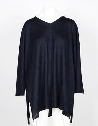 Lamberto Losani Blue Cashmere and Silk Women's Oversized Sweater