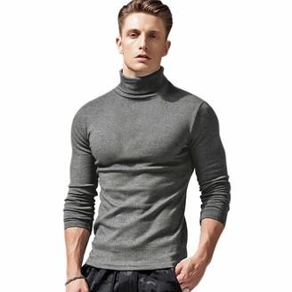 VANVENE Mens Crew Neck Sweater Winter Warm Sports Bottoming Shirt Slim Long Sleeve Top