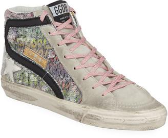Golden Goose Slide High-Top Sequin Suede Sneakers