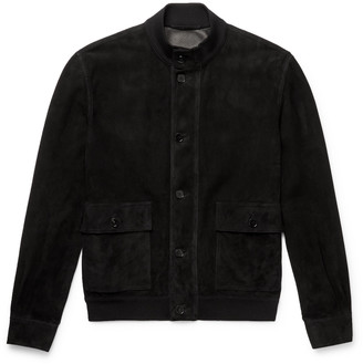 The Row James Perforated Suede Bomber Jacket - Black