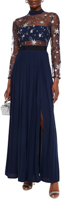 Self-Portrait Embellished Tulle-paneled Pleated Crepe Gown