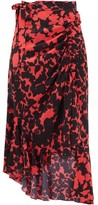 Preen Line Rhea Floral-print Crepe Wrap Skirt - Womens - Black Red