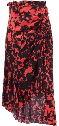 Preen Line Rhea Floral-print Crepe Wrap Skirt - Black Red