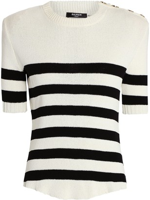 Balmain Sailor Stripe Short Sleeve Sweater