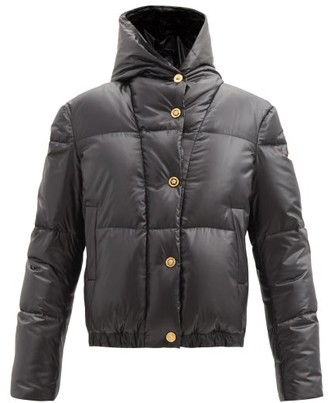 Versace Logo-embroidered Hooded Down Quilted Coat - Black