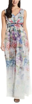 Adrianna Papell Printed Organza Gown