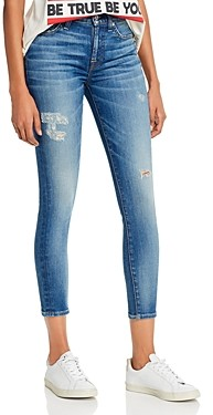 7 For All Mankind High-Waist Ankle Skinny Jeans in Distress Authentic Light Update