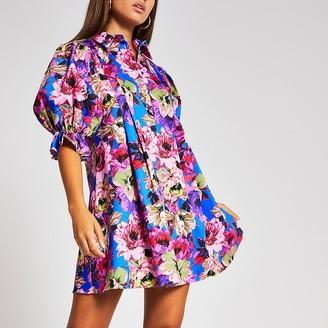River Island Purple floral pleated mini shirt dress