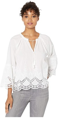 Cupcakes And Cashmere Maya Eyelet Embroidered Cotton Peasant Top (White) Women's Blouse