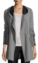 Blanc Noir Traveler Long Jacket w/Leather Trim, Heather Gray/Black