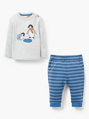 John Lewis & Partners Baby Penguin Top & Joggers Set, Grey