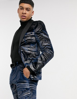 Twisted Tailor velvet suit jacket with swirl design in midnight blue