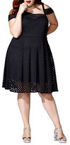 Mblm By Tess Holliday Solid Cold-Shoulder Fit-and-Flare Dress
