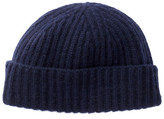 Portolano Uniform Navy Cashmere Large Cuffed Rib Knit Beanie