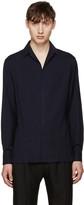 Lanvin Navy Open Collar Shirt