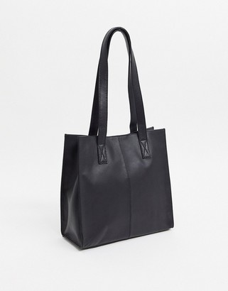 ASOS DESIGN leather square shopper bag in black