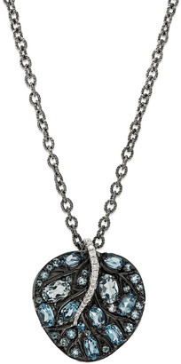 Michael Aram Botanical Leaf Pendant Necklace with Blue Topaz & Diamonds