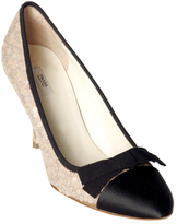 beige sequined satin bow pumps