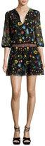 Alice + Olivia Jolene Split-Neck Smocked-Waist Mini Dress, Multicolor