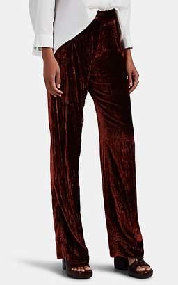 Chloé Women's Crushed Velvet Wide-Leg Trousers - Rust