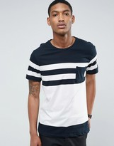 Pull&bear Panel Stripe T-shirt With Pocket In Navy And White