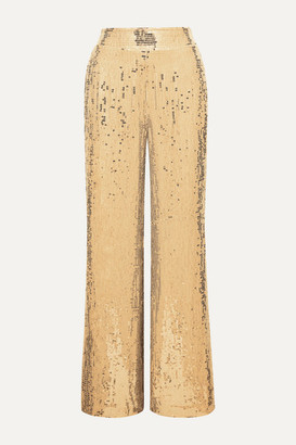 Alice + Olivia Alice Olivia - Racquel Sequined Tulle Wide-leg Pants - Gold