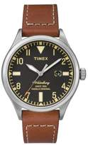 Timex R) Waterbury Leather Strap Watch, 40mm