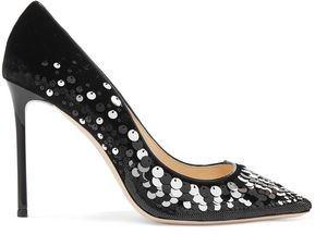 Jimmy Choo Romy 100 Sequin-embellished Velvet Pumps