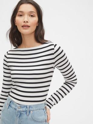 Gap Modern Long Sleeve Striped Boatneck T-Shirt