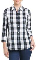 Foxcroft Petite Women's Sue Shaped Fit Crinkle Plaid Shirt