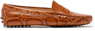 Tod's Gommini Crocodile-effect Leather Loafers - Light Tan