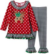 Bonnie Jean Girls 4-6x Dotted Reindeer Tunic Top & Leggings Set