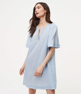 LOFT Petite Chambray Shoulder Ruffle Shift Dress