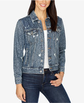 Lucky Brand Ripped Printed Denim Jacket