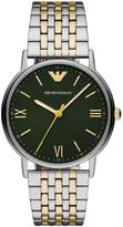 Emporio Armani Emporio Armani Kappa Green and Pale Gold Detail Dial Two Tone Stainless Steel Bracelet Mens Watch