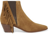 Saint Laurent Fringed Suede Ankle Boots - Tan