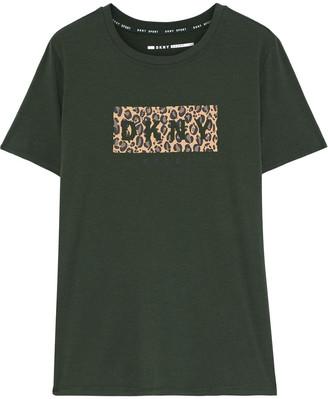 DKNY Leopard-print Cotton-blend Jersey T-shirt