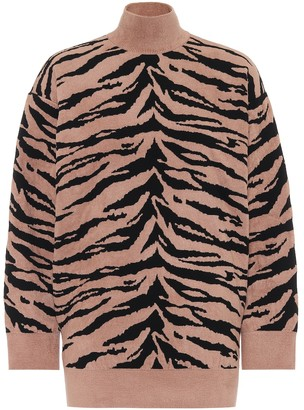 Alaia Zebra jacquard turtleneck sweater