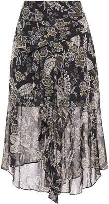 Bailey 44 Josephine Asymmetric Wrap-effect Printed Chiffon Midi Skirt