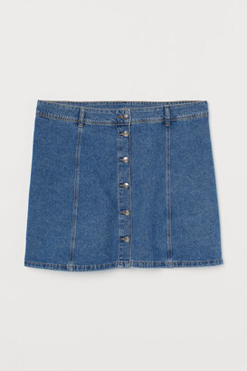 H&M H&M+ A-line Denim Skirt - Blue