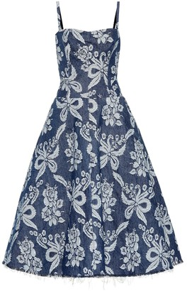 Junya Watanabe Floral-embroidered denim dress