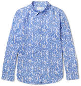 Pink House Mustique - Floral-print Linen Shirt - Light blue