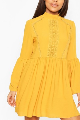 boohoo Petite Crochet Detail Smock Dress